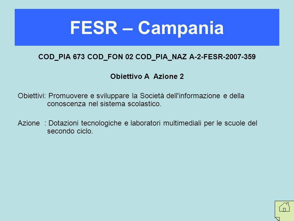 COD_PIA 673 COD_FON 02 COD_PIA_NAZ A-2-FESR-2007-359 Obiettivo A Azione 2 Obiettivi: Promuovere e sviluppare la Società dell'informazione e della cono