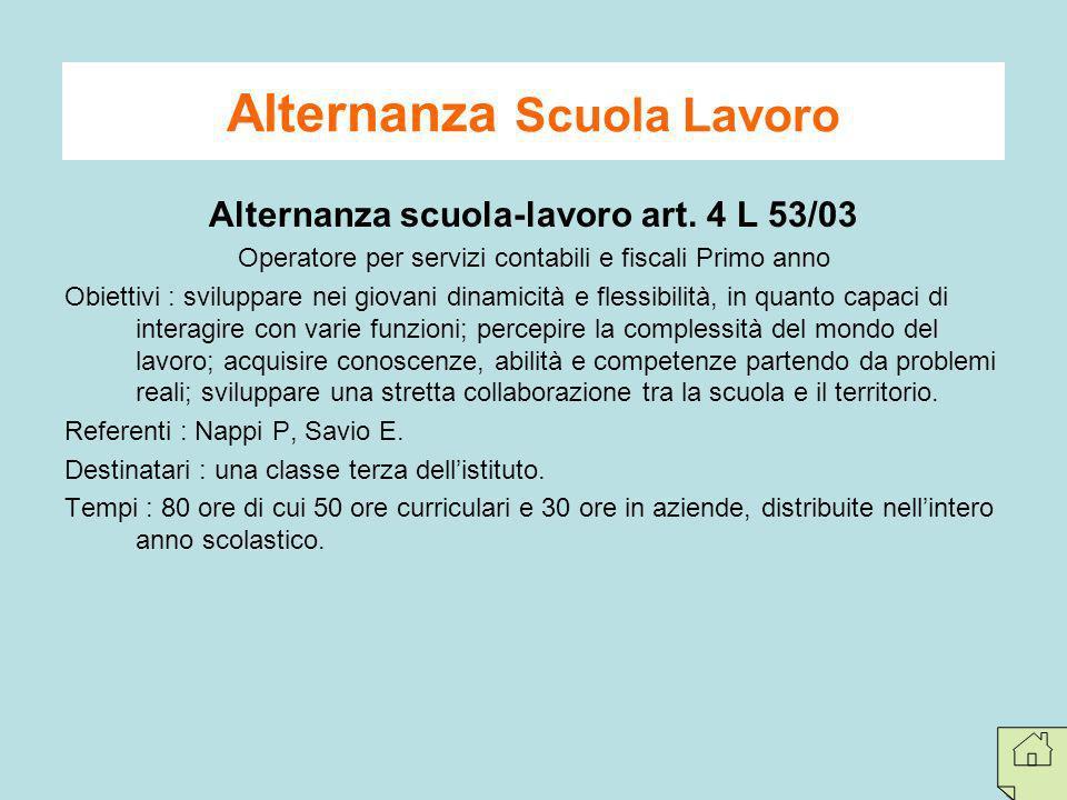 Alternanza scuola-lavoro art. 4 L 53/03 Operatore per servizi contabili e fiscali Primo anno Obiettivi : sviluppare nei giovani dinamicità e flessibil