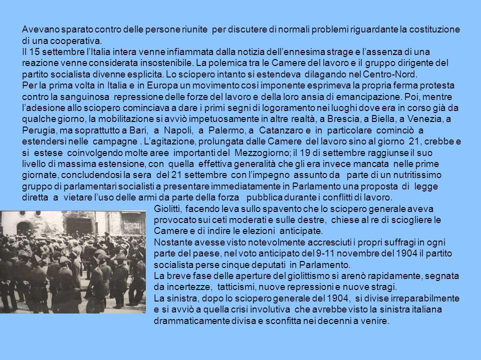 Avevano sparato contro delle persone riunite per discutere di normali problemi riguardante la costituzione di una cooperativa. Il 15 settembre lItalia