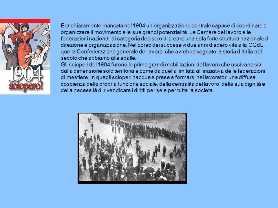 Era chiaramente mancata nel 1904 unorganizzazione centrale capace di coordinare e organizzare il movimento e le sue grandi potenzialità. Le Camere del