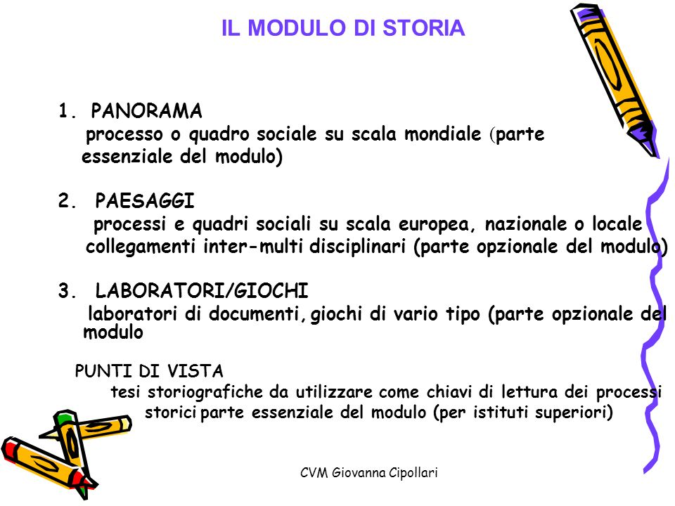 CVM Giovanna Cipollari IL MODULO DI STORIA 1. PANORAMA processo o quadro sociale su scala mondiale ( parte essenziale del modulo) 2. PAESAGGI processi
