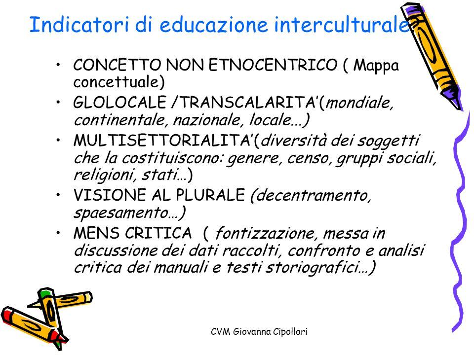CVM Giovanna Cipollari Indicatori di educazione interculturale? CONCETTO NON ETNOCENTRICO ( Mappa concettuale) GLOLOCALE /TRANSCALARITA(mondiale, cont