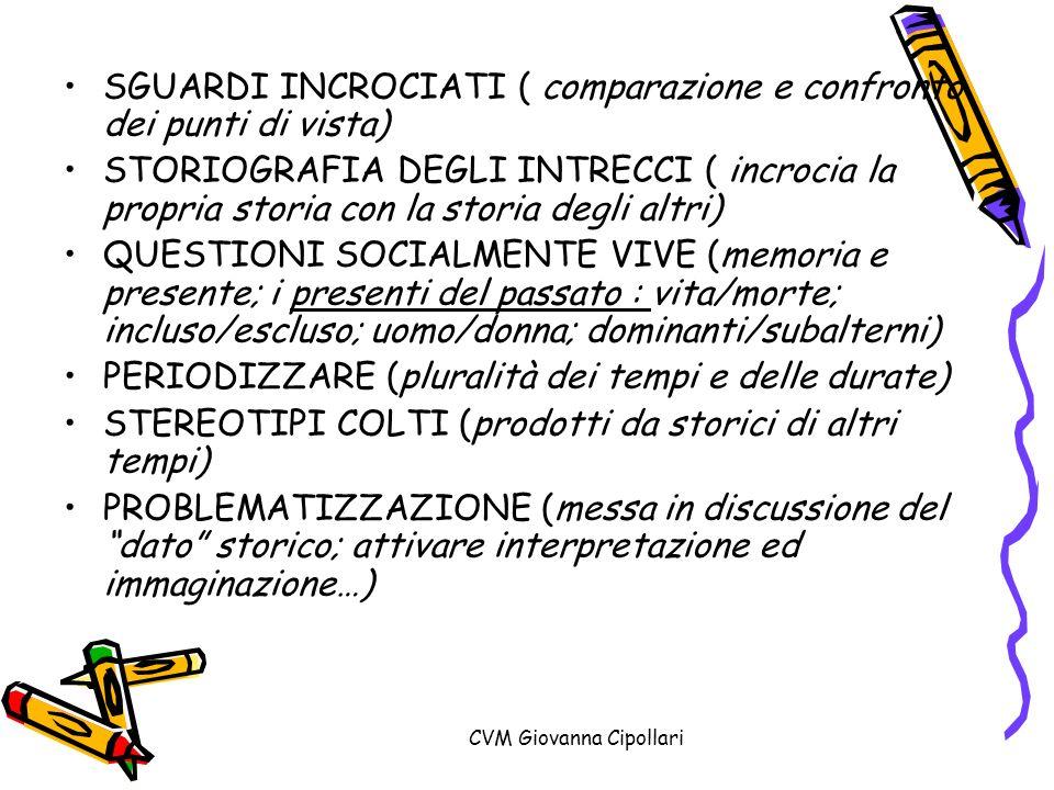 CVM Giovanna Cipollari SGUARDI INCROCIATI ( comparazione e confronto dei punti di vista) STORIOGRAFIA DEGLI INTRECCI ( incrocia la propria storia con