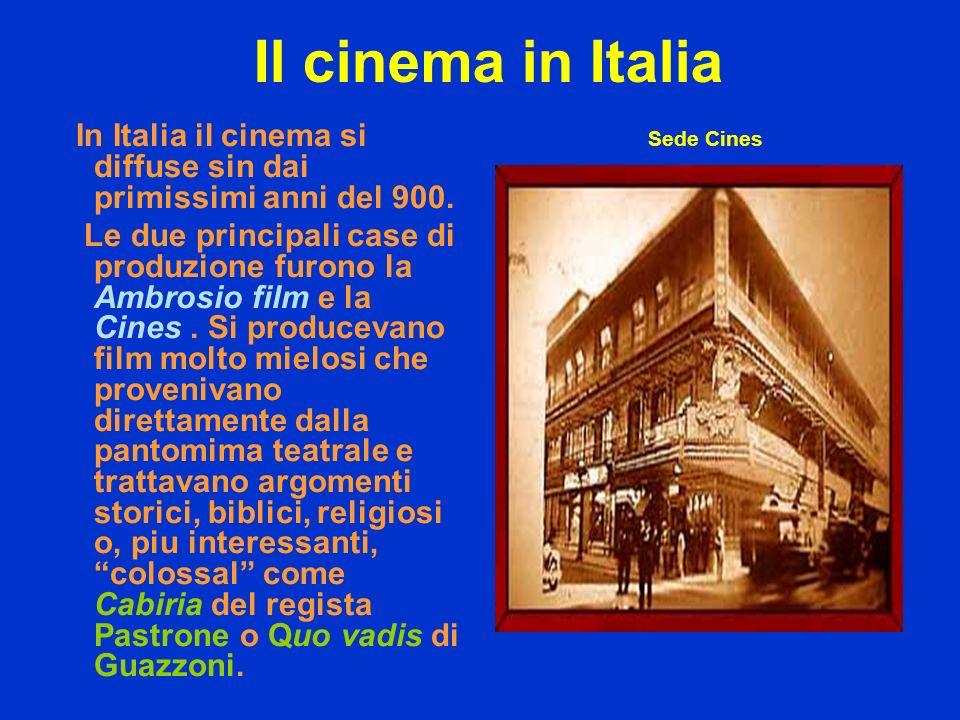 Il cinema in Italia In Italia il cinema si diffuse sin dai primissimi anni del 900. Le due principali case di produzione furono la Ambrosio film e la