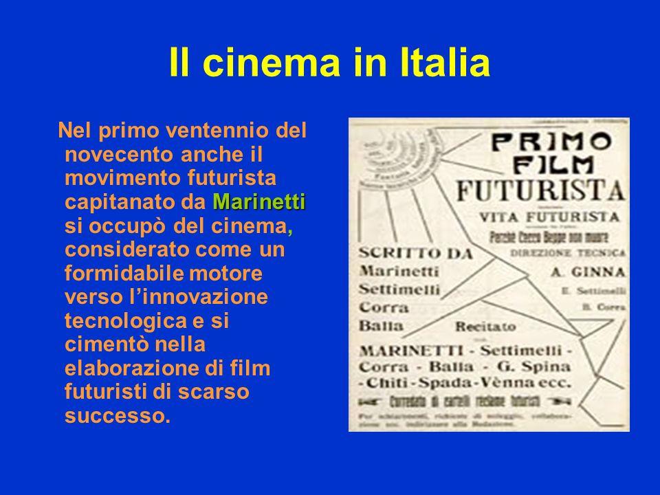 Il cinema in Italia Marinetti Nel primo ventennio del novecento anche il movimento futurista capitanato da Marinetti si occupò del cinema, considerato