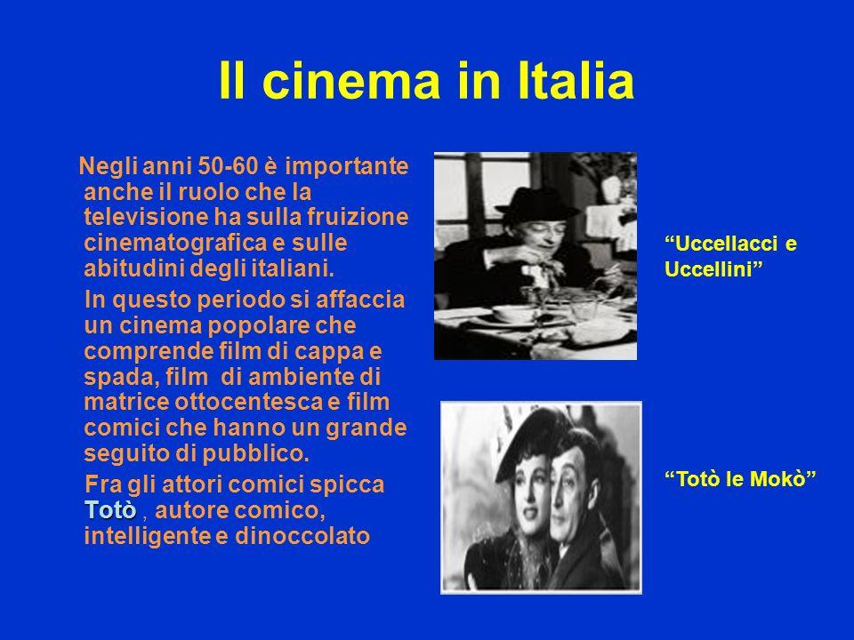 Il cinema in Italia Negli anni 50-60 è importante anche il ruolo che la televisione ha sulla fruizione cinematografica e sulle abitudini degli italian