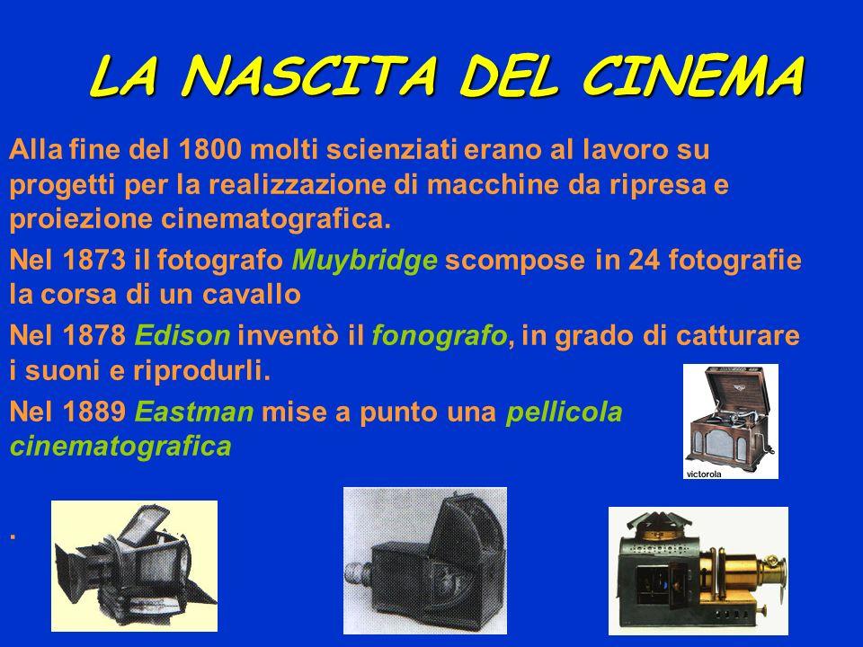 LA NASCITA DEL CINEMA Alla fine del 1800 molti scienziati erano al lavoro su progetti per la realizzazione di macchine da ripresa e proiezione cinemat
