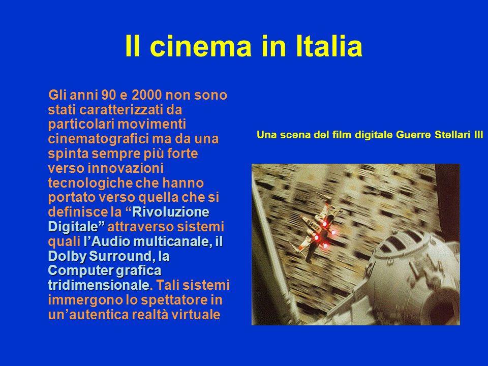 Il cinema in Italia Rivoluzione Digitale lAudio multicanale, il Dolby Surround, la Computer grafica tridimensionale Gli anni 90 e 2000 non sono stati