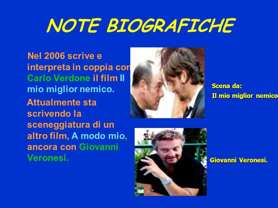 NOTE BIOGRAFICHE Nel 2006 scrive e interpreta in coppia con Carlo Verdone il film Il mio miglior nemico. Attualmente sta scrivendo la sceneggiatura di