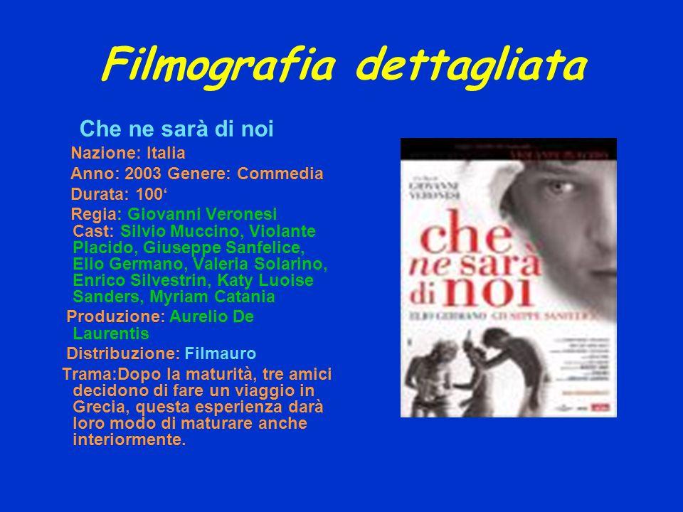 Filmografia dettagliata Che ne sarà di noi Nazione: Italia Anno: 2003 Genere: Commedia Durata: 100 Regia: Giovanni Veronesi Cast: Silvio Muccino, Viol
