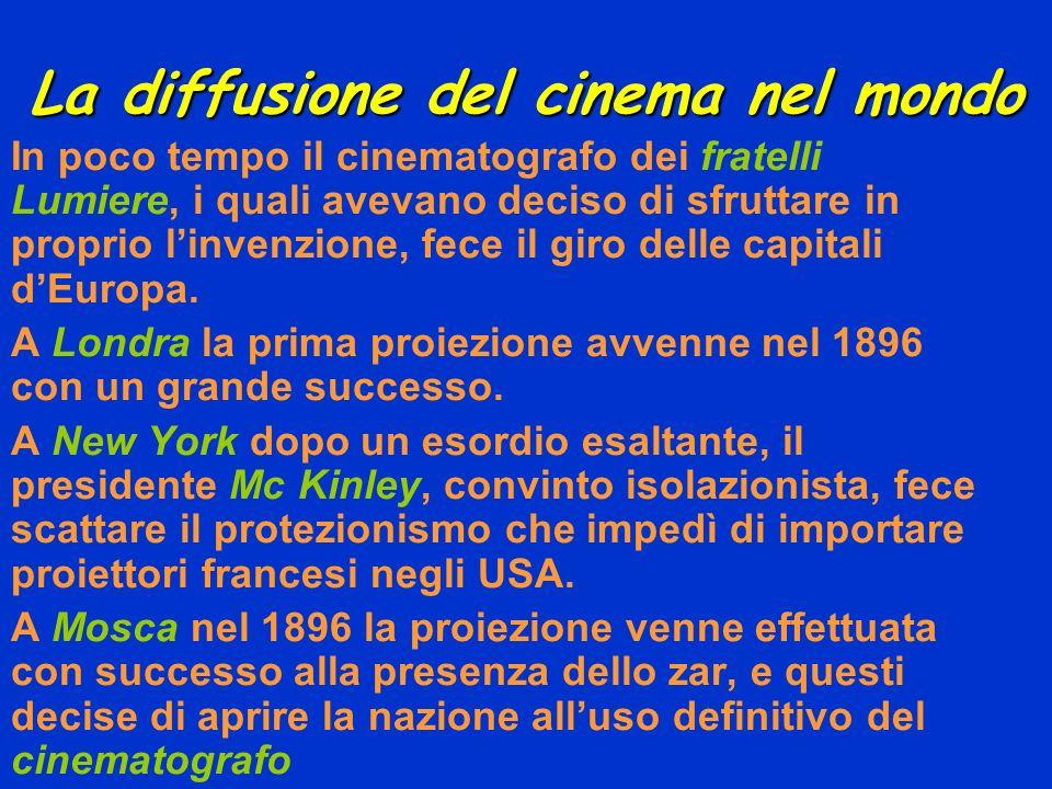 La diffusione del cinema nel mondo In poco tempo il cinematografo dei fratelli Lumiere, i quali avevano deciso di sfruttare in proprio linvenzione, fe