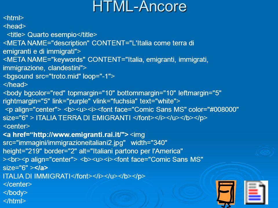HTML-Ancore Quarto esempio <META NAME=