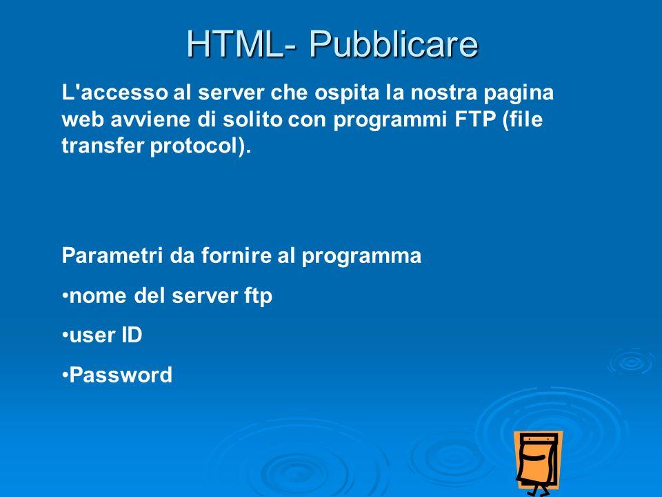HTML- Pubblicare L'accesso al server che ospita la nostra pagina web avviene di solito con programmi FTP (file transfer protocol). Parametri da fornir