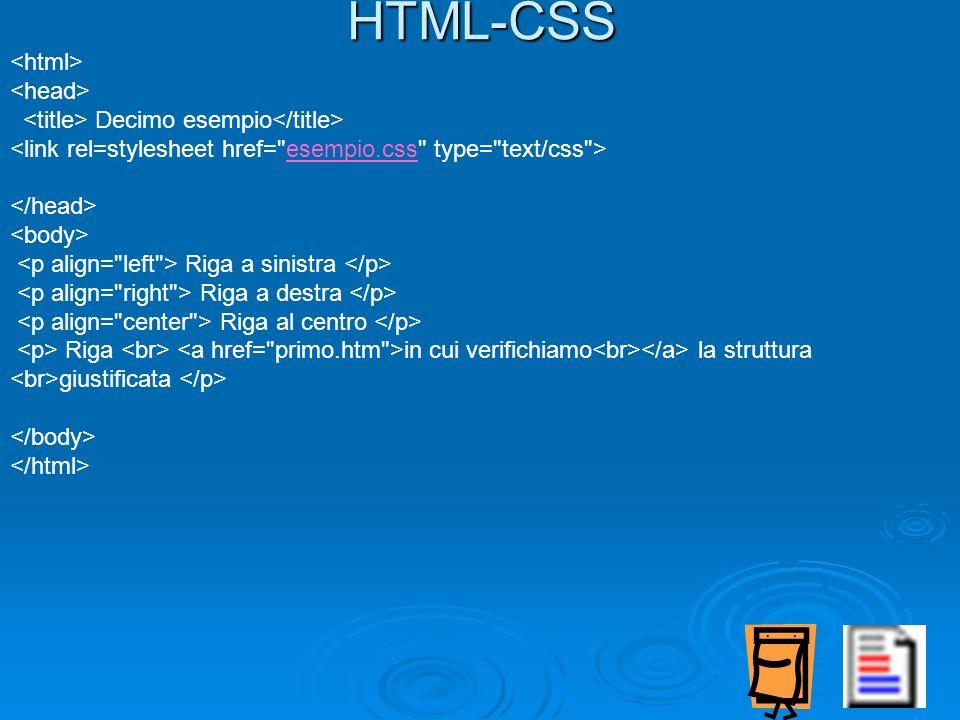 HTML-CSS Decimo esempio esempio.css Riga a sinistra Riga a destra Riga al centro Riga in cui verifichiamo la struttura giustificata
