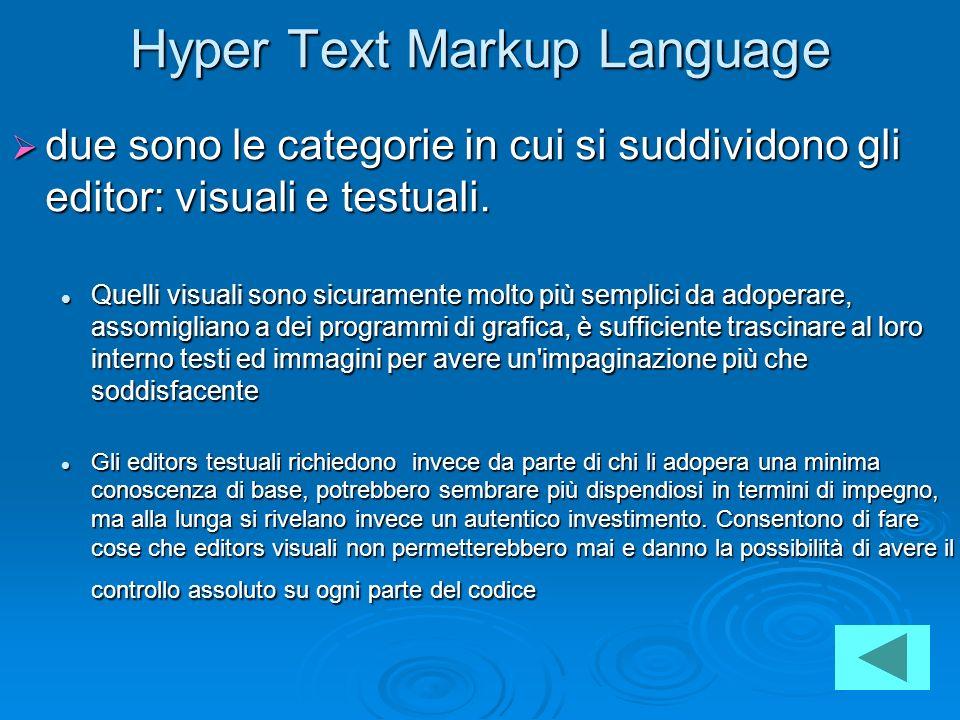 Hyper Text Markup Language due sono le categorie in cui si suddividono gli editor: visuali e testuali. due sono le categorie in cui si suddividono gli