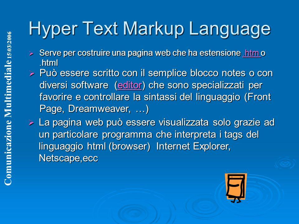 Hyper Text Markup Language Serve per costruire una pagina web che ha estensione.htm o.html Serve per costruire una pagina web che ha estensione.htm o.