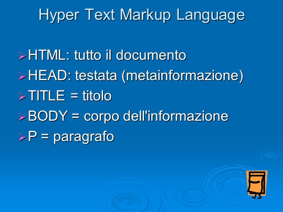 Hyper Text Markup Language HTML: tutto il documento HTML: tutto il documento HEAD: testata (metainformazione) HEAD: testata (metainformazione) TITLE =