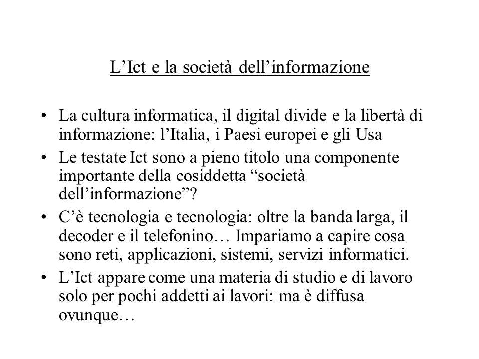 LIct e la società dellinformazione La cultura informatica, il digital divide e la libertà di informazione: lItalia, i Paesi europei e gli Usa Le testate Ict sono a pieno titolo una componente importante della cosiddetta società dellinformazione.