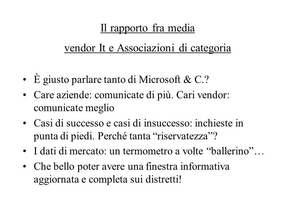 Il rapporto fra media vendor It e Associazioni di categoria È giusto parlare tanto di Microsoft & C..