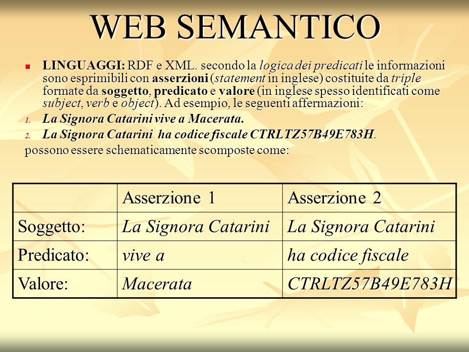 WEB SEMANTICO LINGUAGGI: RDF e XML.