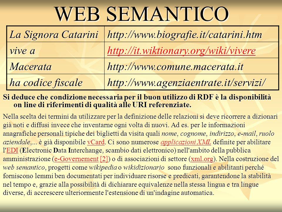 WEB SEMANTICO Si deduce che condizione necessaria per il buon utilizzo di RDF è la disponibilità on line di riferimenti di qualità alle URI referenziate.