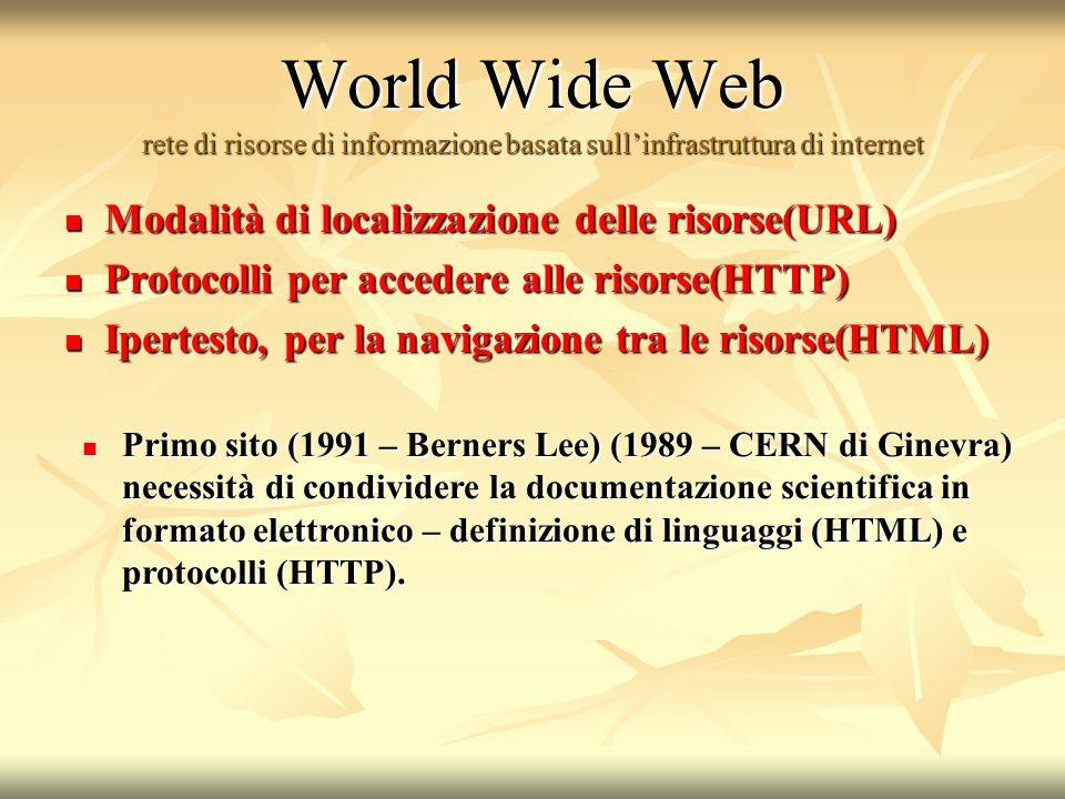World Wide Web rete di risorse di informazione basata sullinfrastruttura di internet Modalità di localizzazione delle risorse(URL) Modalità di localizzazione delle risorse(URL) Protocolli per accedere alle risorse(HTTP) Protocolli per accedere alle risorse(HTTP) Ipertesto, per la navigazione tra le risorse(HTML) Ipertesto, per la navigazione tra le risorse(HTML) Primo sito (1991 – Berners Lee) (1989 – CERN di Ginevra) necessità di condividere la documentazione scientifica in formato elettronico – definizione di linguaggi (HTML) e protocolli (HTTP).