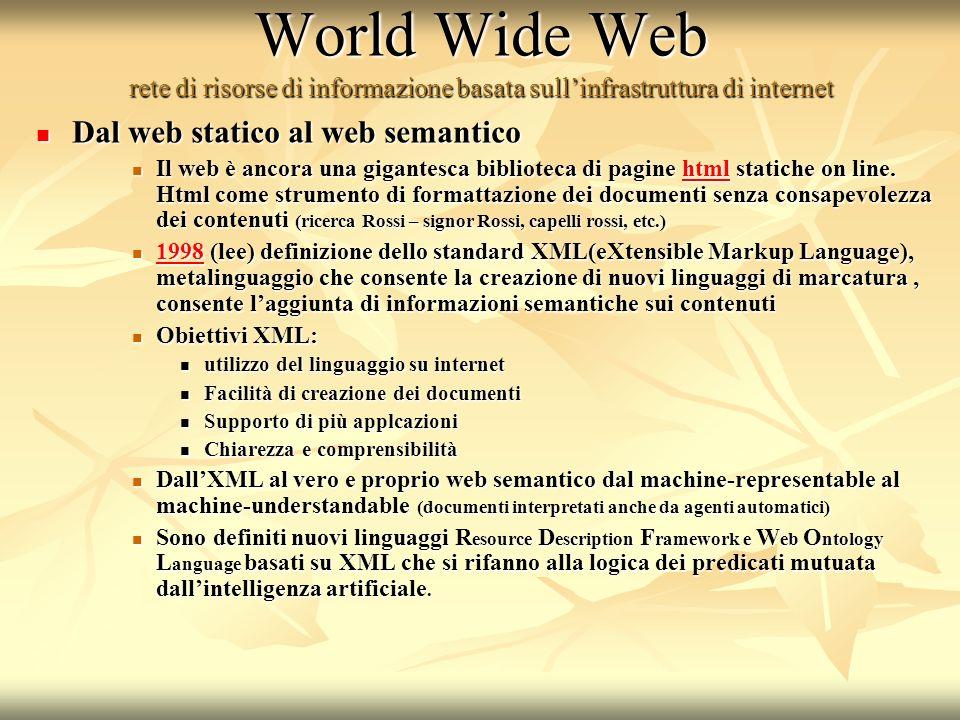 World Wide Web rete di risorse di informazione basata sullinfrastruttura di internet Dal web statico al web semantico Dal web statico al web semantico Il web è ancora una gigantesca biblioteca di pagine html statiche on line.