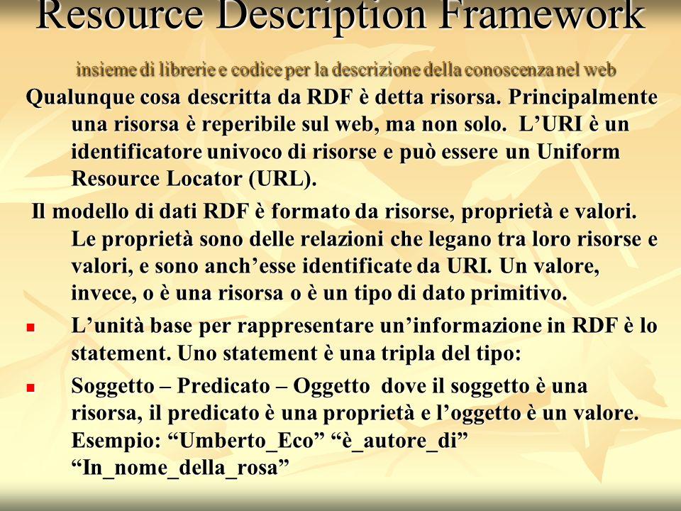 Resource Description Framework insieme di librerie e codice per la descrizione della conoscenza nel web Qualunque cosa descritta da RDF è detta risorsa.