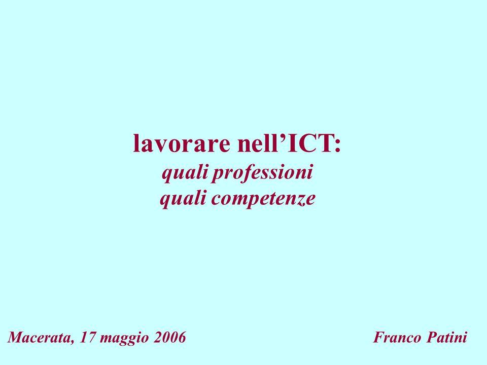 lavorare nellICT: quali professioni quali competenze Macerata, 17 maggio 2006 Franco Patini