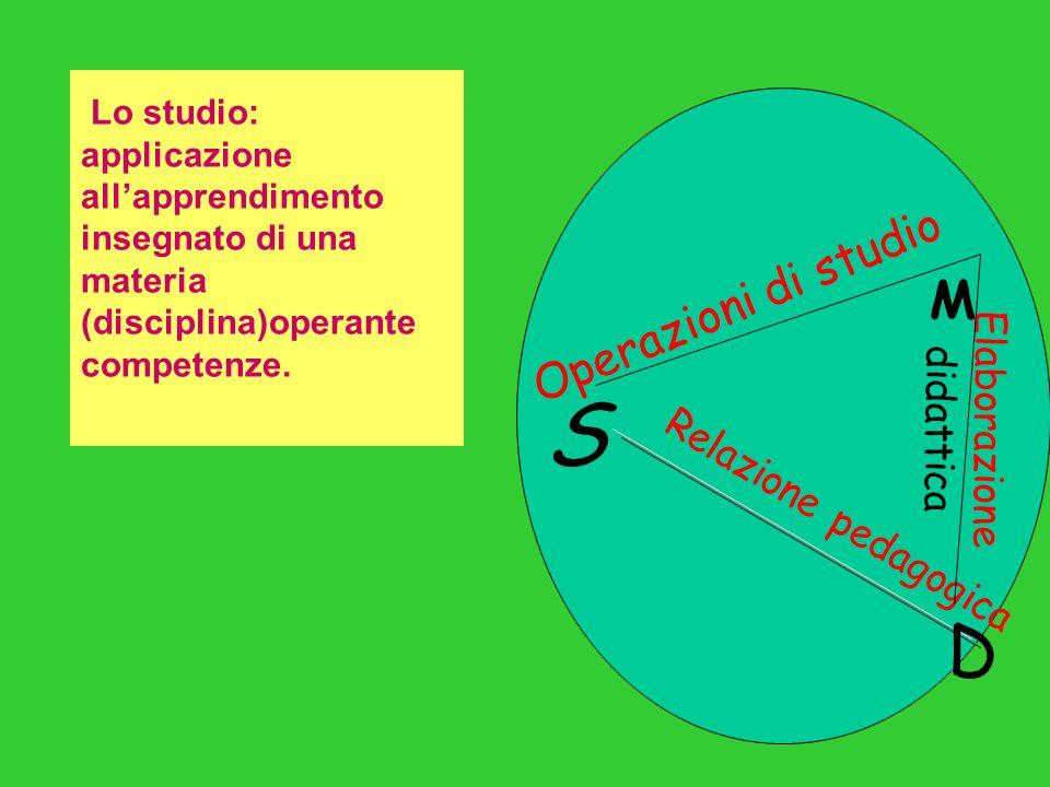S D M R e l a z i o n e p e d a g o g i c a O p e r a z i o n i d i s t u d i o E l a b o r a z i o n e d i d a t t i c a Lo studio: applicazione allapprendimento insegnato di una materia (disciplina)operante competenze.
