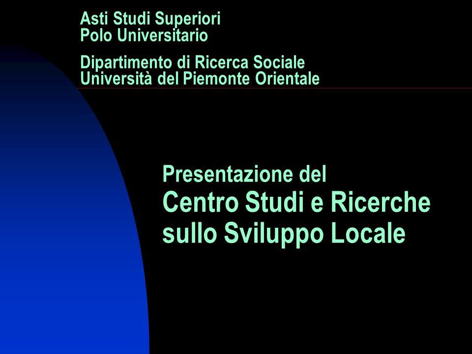 Asti Studi Superiori Polo Universitario Dipartimento di Ricerca Sociale Università del Piemonte Orientale Presentazione del Centro Studi e Ricerche sullo Sviluppo Locale