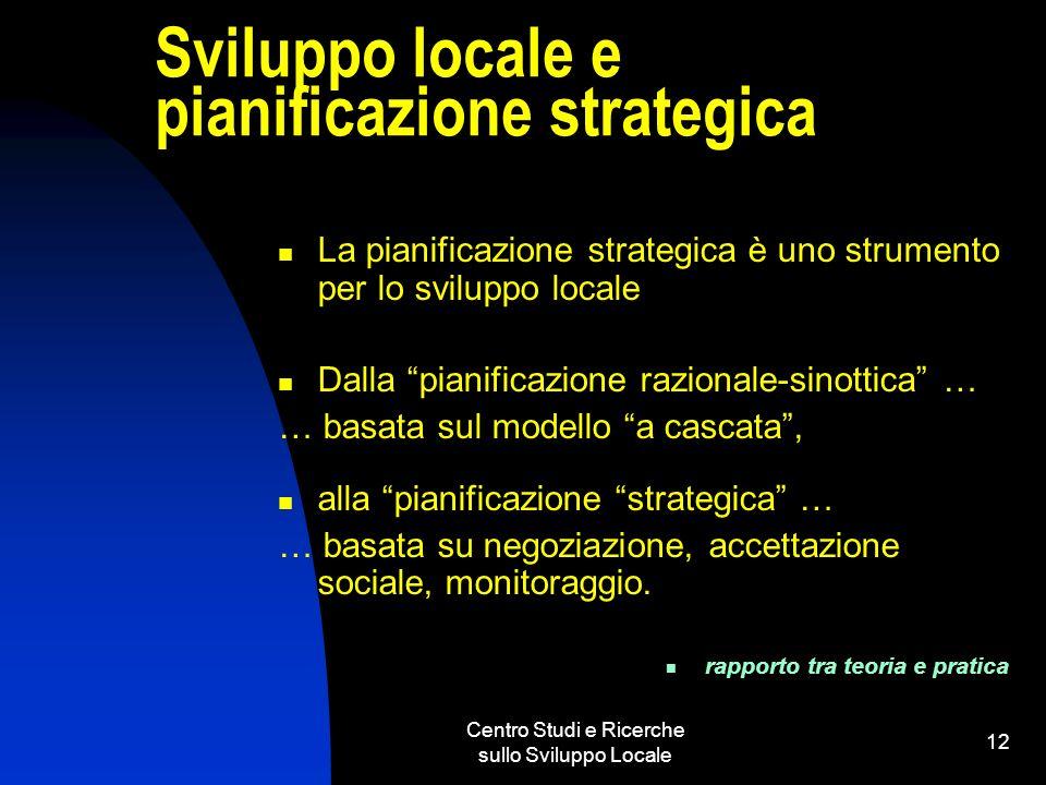 Centro Studi e Ricerche sullo Sviluppo Locale 12 Sviluppo locale e pianificazione strategica La pianificazione strategica è uno strumento per lo svilu