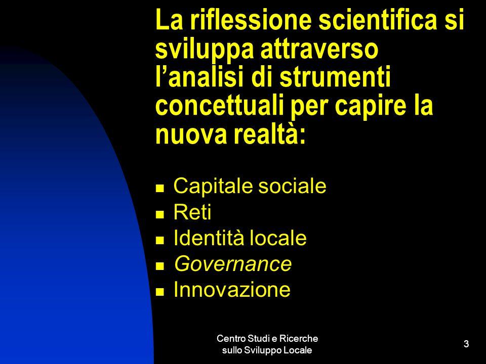 Centro Studi e Ricerche sullo Sviluppo Locale 3 La riflessione scientifica si sviluppa attraverso lanalisi di strumenti concettuali per capire la nuova realtà: Capitale sociale Reti Identità locale Governance Innovazione