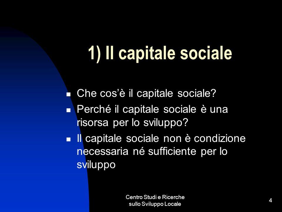 Centro Studi e Ricerche sullo Sviluppo Locale 4 1) Il capitale sociale Che cosè il capitale sociale? Perché il capitale sociale è una risorsa per lo s