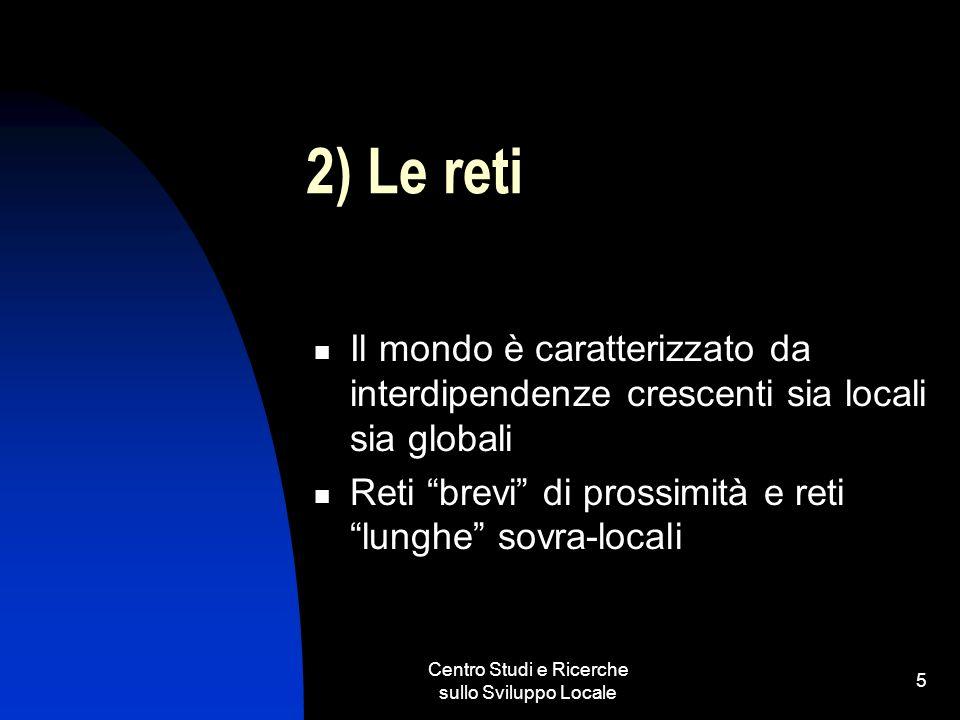 Centro Studi e Ricerche sullo Sviluppo Locale 5 2) Le reti Il mondo è caratterizzato da interdipendenze crescenti sia locali sia globali Reti brevi di