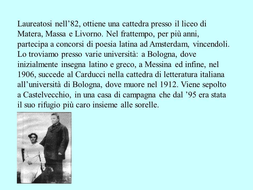 Laureatosi nell82, ottiene una cattedra presso il liceo di Matera, Massa e Livorno. Nel frattempo, per più anni, partecipa a concorsi di poesia latina