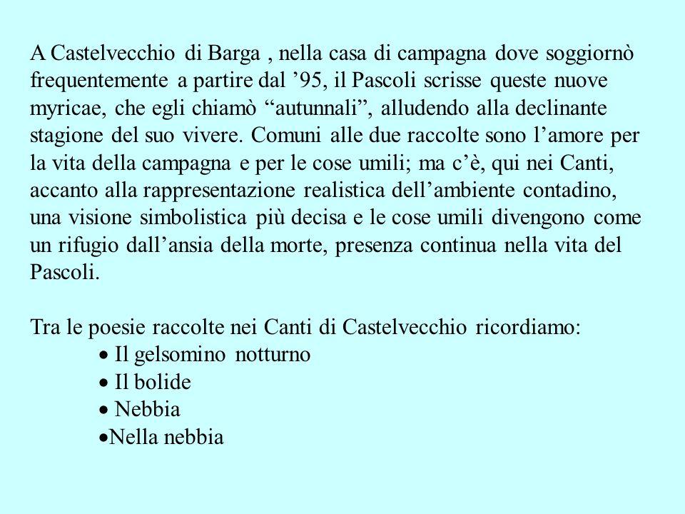 A Castelvecchio di Barga, nella casa di campagna dove soggiornò frequentemente a partire dal 95, il Pascoli scrisse queste nuove myricae, che egli chi