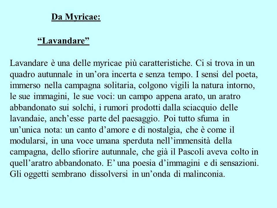 Da Myricae: Lavandare Lavandare è una delle myricae più caratteristiche. Ci si trova in un quadro autunnale in unora incerta e senza tempo. I sensi de