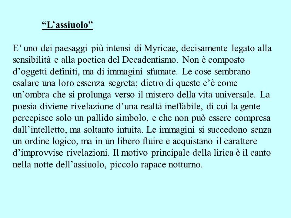 Lassiuolo E uno dei paesaggi più intensi di Myricae, decisamente legato alla sensibilità e alla poetica del Decadentismo. Non è composto doggetti defi
