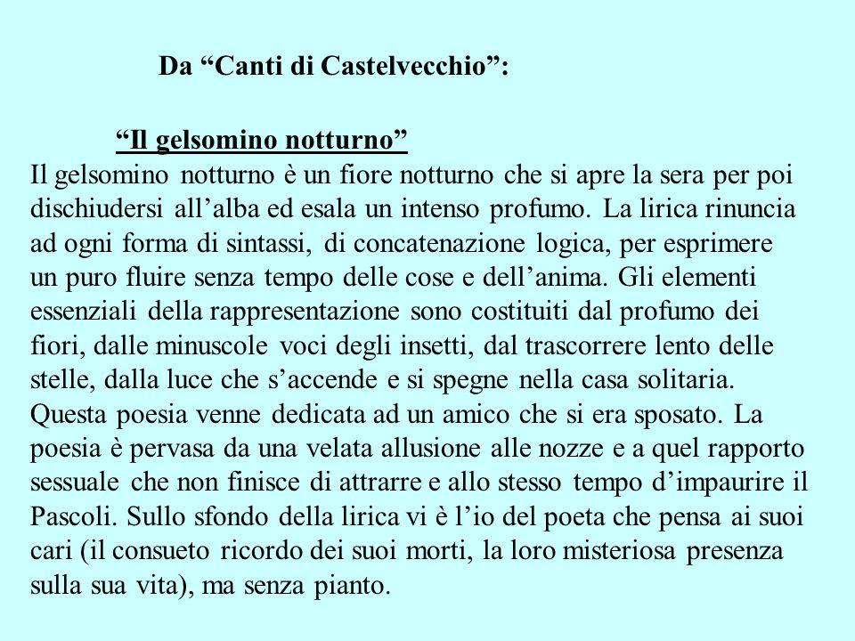 Da Canti di Castelvecchio: Il gelsomino notturno Il gelsomino notturno è un fiore notturno che si apre la sera per poi dischiudersi allalba ed esala u