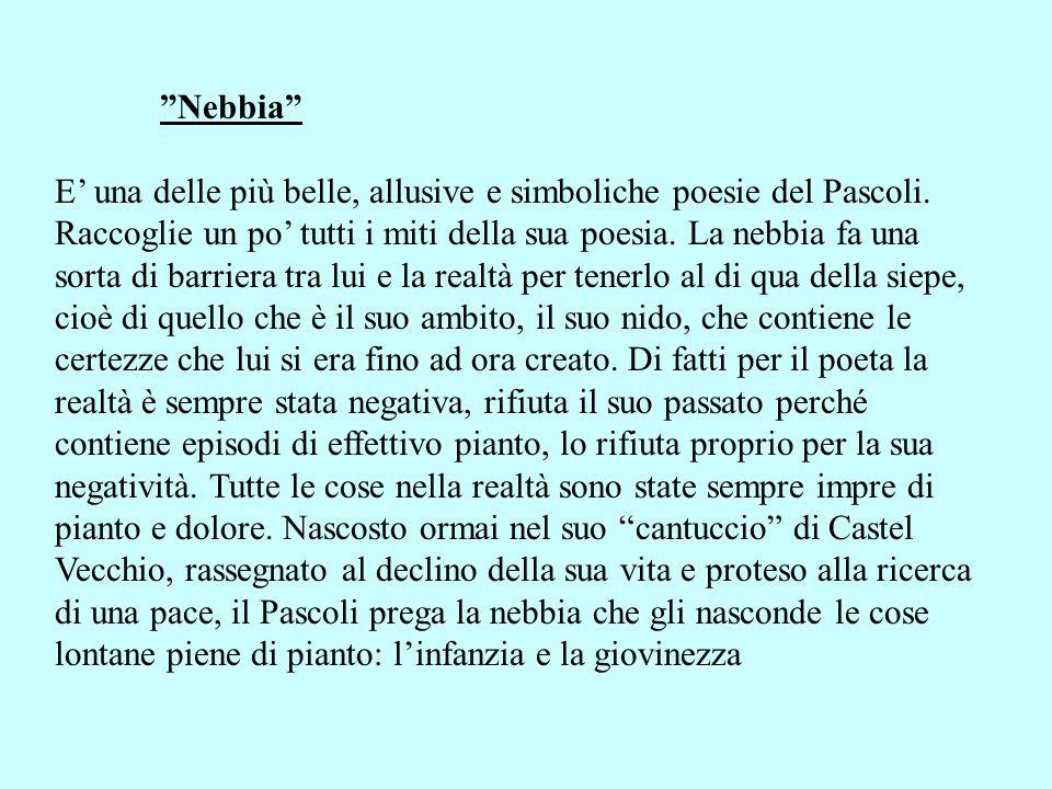 Nebbia E una delle più belle, allusive e simboliche poesie del Pascoli. Raccoglie un po tutti i miti della sua poesia. La nebbia fa una sorta di barri