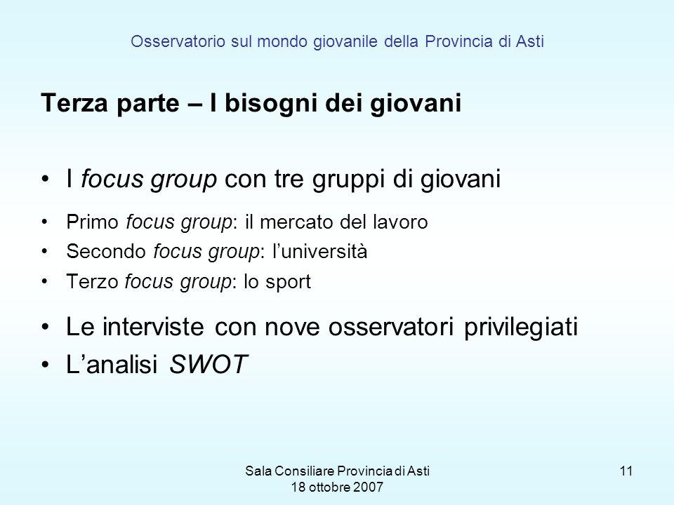 Sala Consiliare Provincia di Asti 18 ottobre 2007 11 Osservatorio sul mondo giovanile della Provincia di Asti Terza parte – I bisogni dei giovani I fo