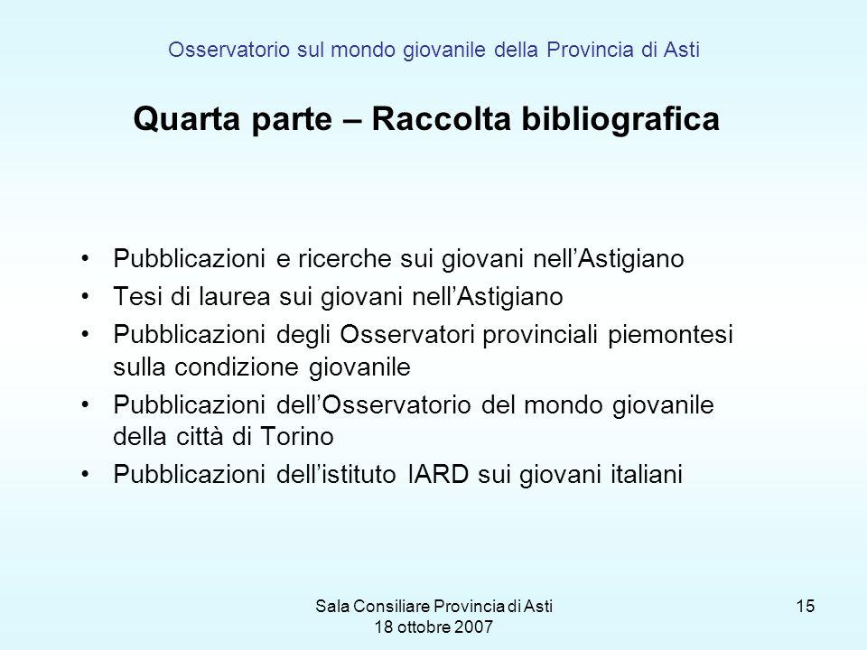 Sala Consiliare Provincia di Asti 18 ottobre 2007 15 Osservatorio sul mondo giovanile della Provincia di Asti Quarta parte – Raccolta bibliografica Pu