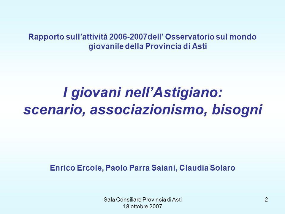 Sala Consiliare Provincia di Asti 18 ottobre 2007 2 Rapporto sullattività 2006-2007dell Osservatorio sul mondo giovanile della Provincia di Asti I gio