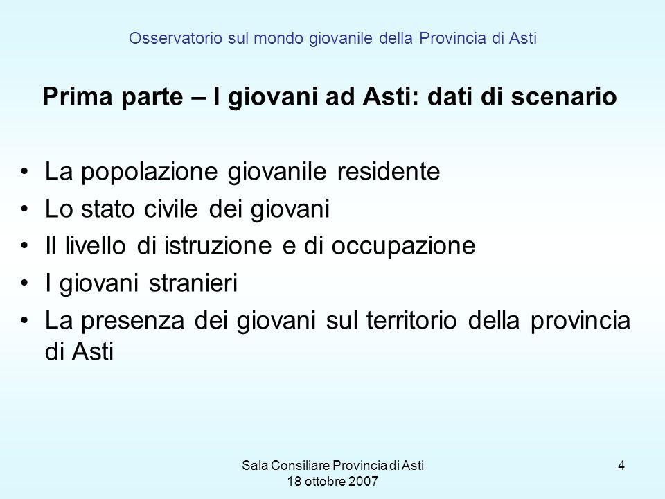 Sala Consiliare Provincia di Asti 18 ottobre 2007 4 Osservatorio sul mondo giovanile della Provincia di Asti Prima parte – I giovani ad Asti: dati di