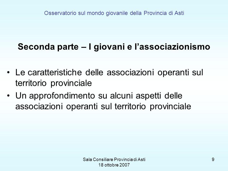Sala Consiliare Provincia di Asti 18 ottobre 2007 9 Osservatorio sul mondo giovanile della Provincia di Asti Seconda parte – I giovani e lassociazioni