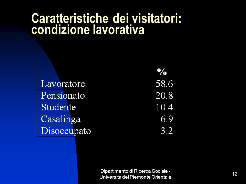 Dipartimento di Ricerca Sociale - Università del Piemonte Orientale 12 Caratteristiche dei visitatori: condizione lavorativa