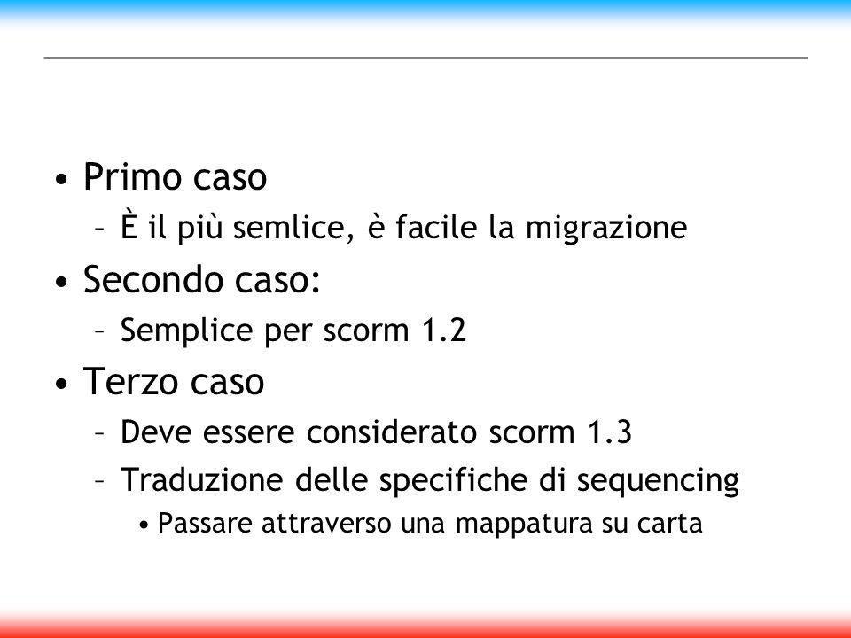 Primo caso –È il più semlice, è facile la migrazione Secondo caso: –Semplice per scorm 1.2 Terzo caso –Deve essere considerato scorm 1.3 –Traduzione delle specifiche di sequencing Passare attraverso una mappatura su carta