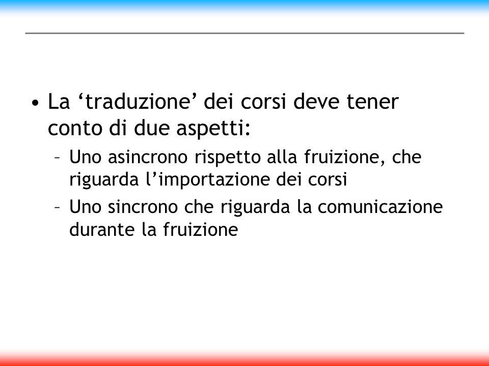 La traduzione dei corsi deve tener conto di due aspetti: –Uno asincrono rispetto alla fruizione, che riguarda limportazione dei corsi –Uno sincrono che riguarda la comunicazione durante la fruizione