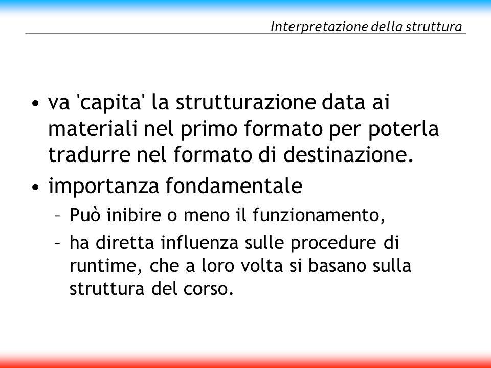 Interpretazione della struttura va capita la strutturazione data ai materiali nel primo formato per poterla tradurre nel formato di destinazione.